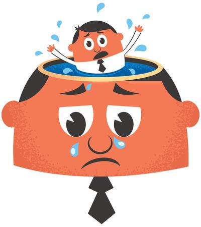 distraught: Conceptual illustration for depression.