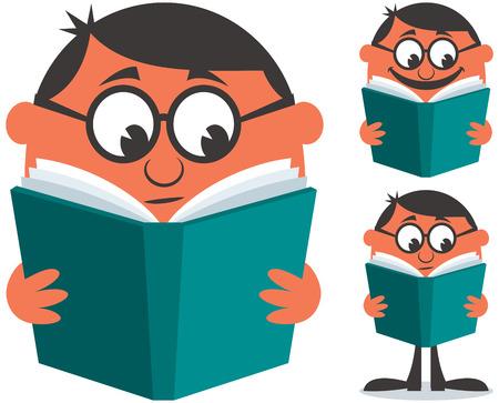 novels: Man reading book. Illustration is in 3 different versions. Illustration