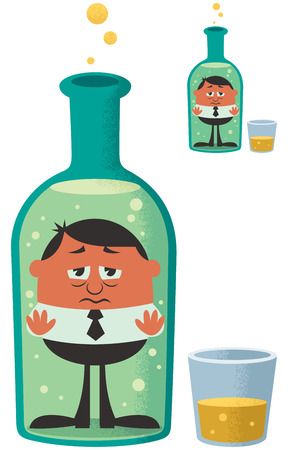 sad cartoon: Conceptual illustration for alcoholism. The small version is with no gradient effects. Illustration