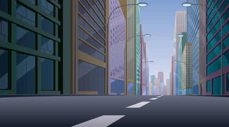 scene: City street background illustration. Basic (linear) gradients used. No transparency. Illustration