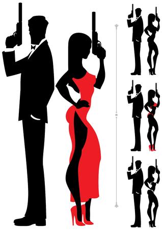 mujer con arma: Siluetas de los pares de espionaje sobre fondo blanco. Cuatro versiones que difieren en el traje de la hembra.