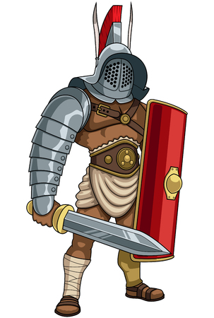 Illustration of Roman gladiator in full battle gear.