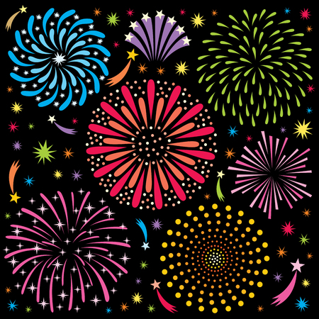 Cartoon fireworks. No transparency and gradients used. Illustration