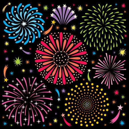 Fuochi d'artificio del fumetto. Senza trasparenza e sfumature utilizzate. Archivio Fotografico - 47717239