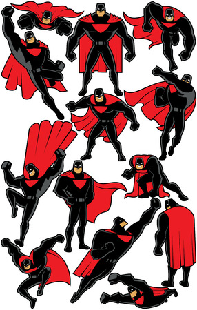 Superhero over white background in 13 different poses. Illustration