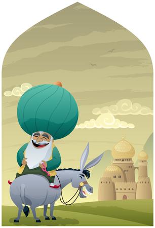 Cartoon of Nasreddin Hodja on his donkey.