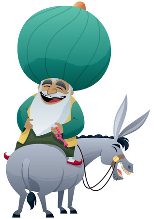 Cartoon of Nasreddin Hodja on his donkey.