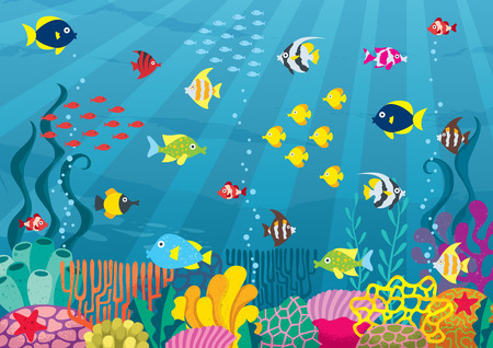 Cartoon illustration of underwater world with corals and fish.