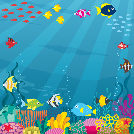 under: Cartoon square banner of underwater world with copy space. Illustration