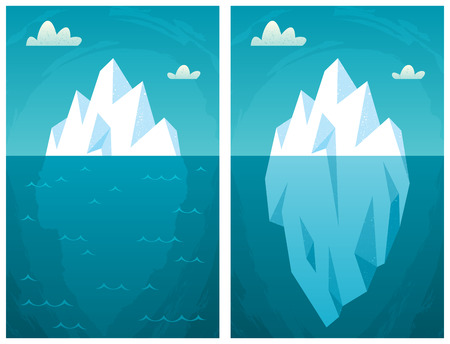 iceberg: Cartoon iceberg in 2 versions.