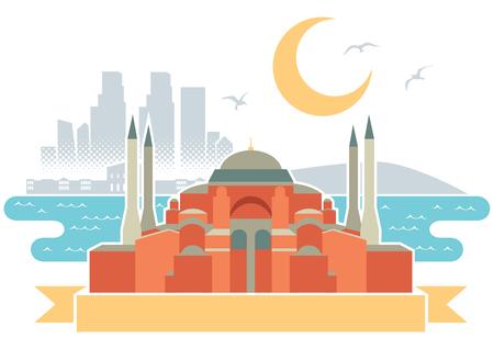 hagia sophia: Simple illustration of Istanbul.
