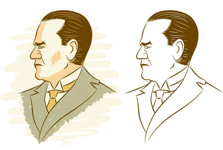 founding fathers: Portrait of Kemal Ataturk in 2 versions.