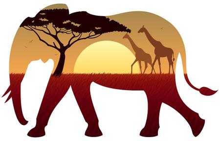 Afrikanische Landschaft in der Silhouette von Elefanten. Keine Transparenz verwendet. Basic (linear) Gradienten verwendet.