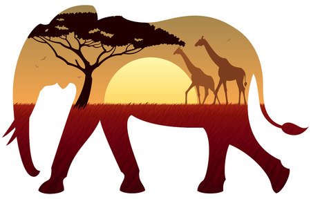 Paisaje africano en la silueta del elefante. Sin transparencia utilizada. Gradientes Básicas (lineal) utilizados.