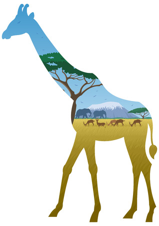 wildlife reserve: African landscape in silhouette of giraffe. No transparency used. Basic (linear) gradients used.