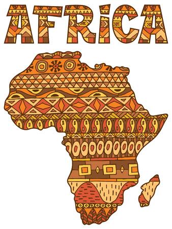 Afrika abstracte kaart over een witte achtergrond.