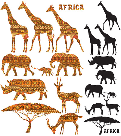 traditional pattern: Set of African animal silhouettes in 2 versions: black and pattern filled.