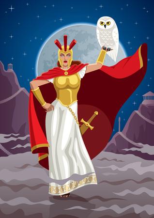 greek god: Goddess Athena holding white owl.