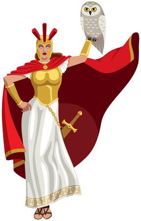 Goddess Athena holding white owl.