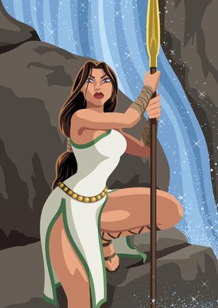 mythology: Greek Atalanta climbs down rock near waterfall.