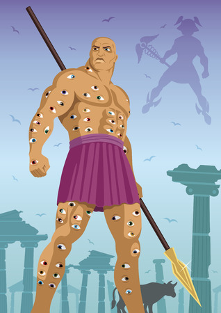 vigilant: The hundred eyed god, standing guard over the cow . God Hermes is coming to steal the cow. Illustration