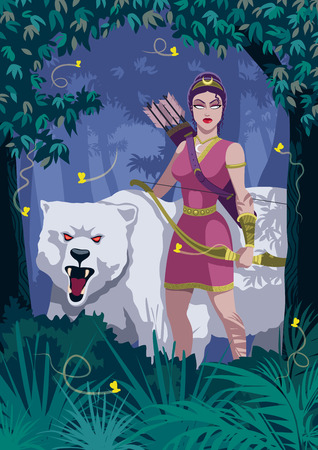 Goddess Artemis in woods with bear.