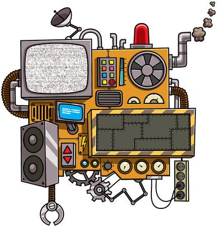 Fictieve cartoon machine met een kopie ruimte geïsoleerd op een witte achtergrond.