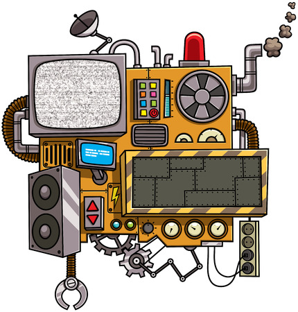 Fictional cartoon machine with copy space isolated over white background. Ilustracja
