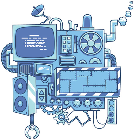 Fictional cartoon machine with copy space isolated over white background. Ilustrace