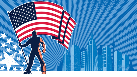united states: Flag bearer holding the flag of USA over grunge background with copy space. Illustration