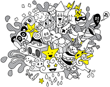 love blast: Conceptual illustration with party doodle.