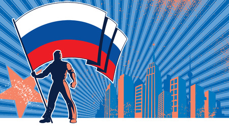 Porte-drapeau tenant le drapeau de la Russie sur fond grunge avec copie espace.