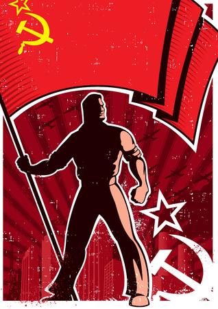 Retro poster with flag bearer holding banner of USSR.