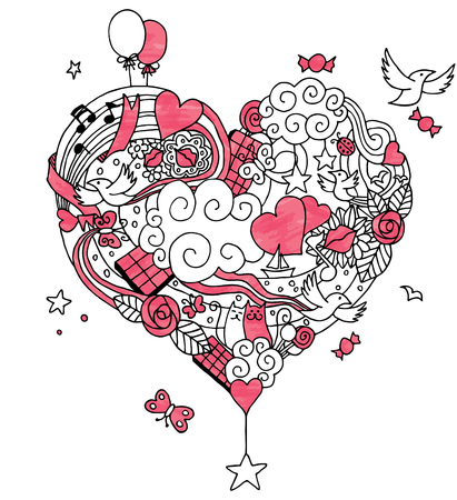 heart hand: Hand drawn love doodle. No transparency and gradients used. Illustration