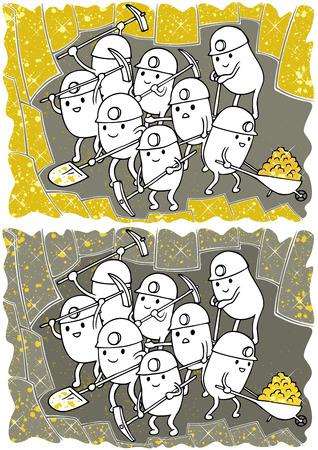 Doodle mit fiktiven Goldsuchern bei der Arbeit in zwei Farbvarianten.