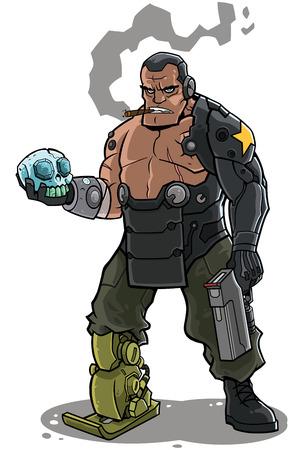 Ilustración del carácter cyborg soldado.