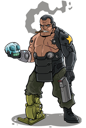 Illustration of cyborg soldier character.