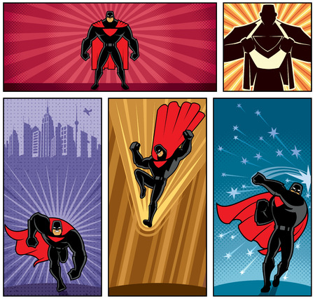 heroes: Set of 5 superhero banners. No transparency and gradients used.