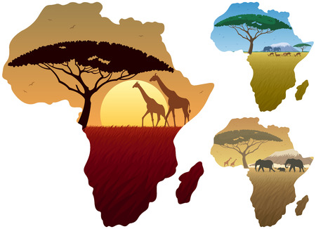 Three African landscapes in map of Africa. Çizim