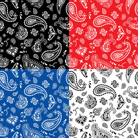 Seamless bandana pattern in 4 color versions.