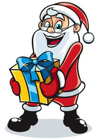 Happy Santa Claus bringing you gift. Illustration