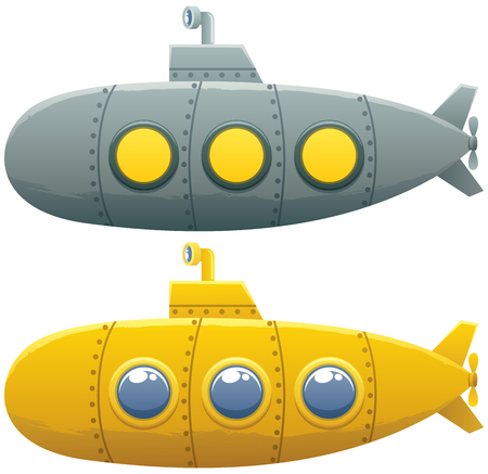 cartoon submarine: Cartoon submarine in 2 versions over white background.