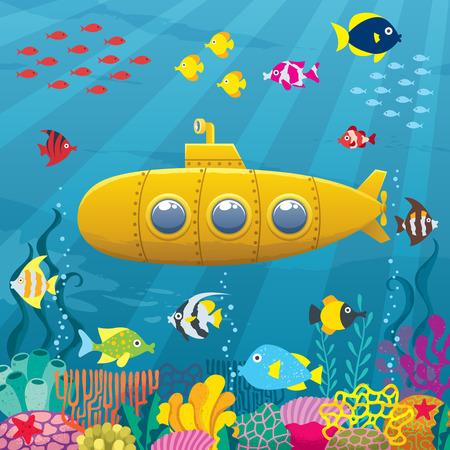 Cartoon yellow submarine pod wodą. Ilustracje wektorowe
