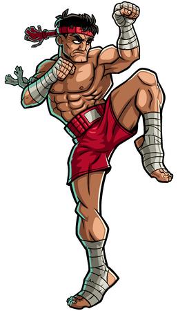 muay thai: Illustration of Muay Thai fighter.