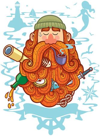 seaman: Concept illustration for marine life depicting sailor with big beard.