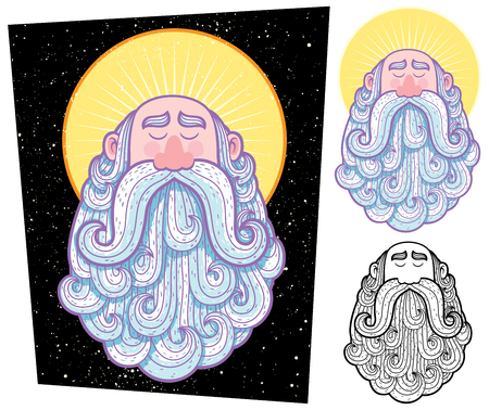 bodhisattva: Cartoon illustration of saint in 3 versions. Illustration