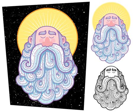 bodhisattva: Cartoon illustration of saint in 3 versions. Illustration