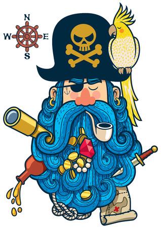 puntos cardinales: Retrato de pirata de dibujos animados con gran barba.