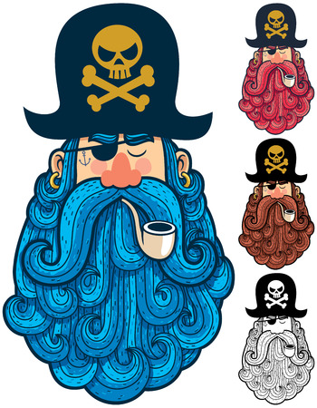 thug: Portrait of cartoon pirate with big beard in 4 versions.