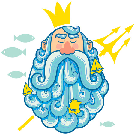 king neptune: Illustration of sea god Neptune.